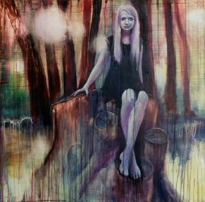 Anne Kammermeier: Feenwald, 2013, Acryl auf Leinwand, 100 x 100 cm, ©Anne Kammermeier 2013