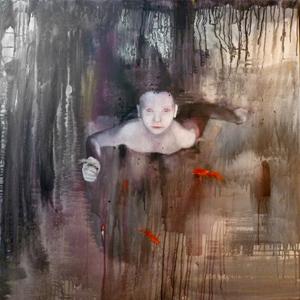 Anne Kammermeier: Ikarus, 2012, Acryl, Glas und Federn auf Leinwand, 100 x 100 cm, © Anne Kammermeier 2012