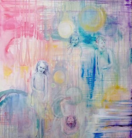 Anne Kammermeier: Jeder fuer sich, 2012, Acryl auf Leinwand, 150 x 160 cm, © Anne Kammermeier
