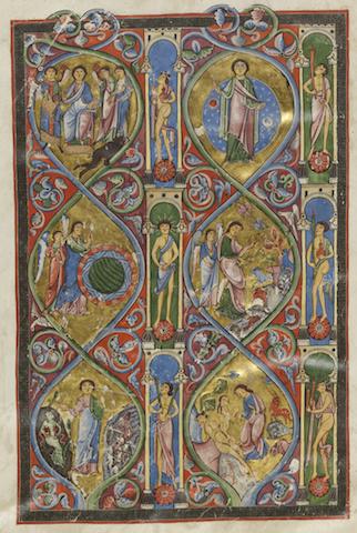 Die Gumbertusbibel wurde um 1180/85 gefertigt. Die Abbildung zweigt Folio5v im Buch Genesis, © GNM, Foto: Georg Janken, Kat. Nr. 1, Taf. 2