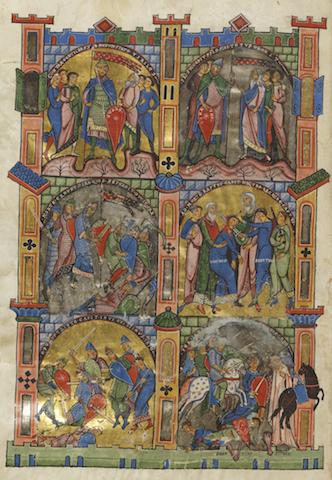 Folio 297v ist die Bildseite zum 1. Buch der Makkabäer der Gumbertusbibel. Die Bibel wird in der Universitätsbibliothek Erlangen aufbewahrt.