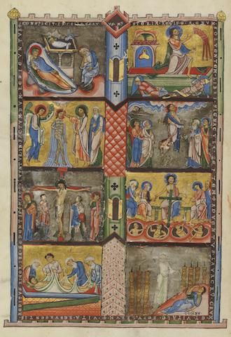 Folio 380v ist die Bildseite zur Apokalypse der Gumbertusbibel. Die Bibel wird in der Universitätsbibliothek Erlangen aufbewahrt.