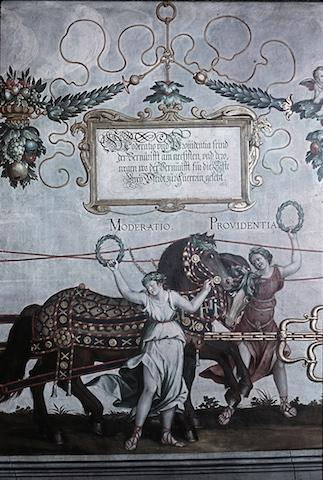 Nürnberg, historischer Rathausaal, Moderatio und Providentia / Triumphwagen Nordwand. Farbdia von 1943/45 © Zentralinstitut für Kunstgeschichte München