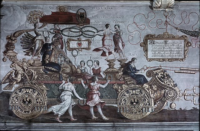 Der Triumphwagen Kaiser Maximilians I. von Albrecht Dürer, Rathaus Nürnberg, Nordwand, Farbdia von 1943/45 ©Zentralinstitut für Kunstgeschichte München