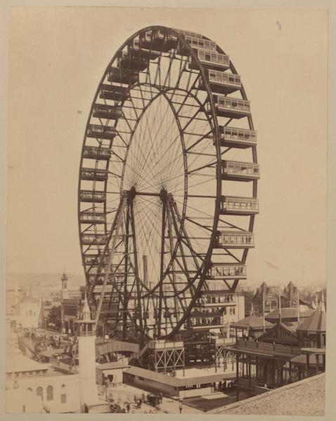 Riesenrad auf der Weltausstellung in Chicago 1893, 1892/93 Fotografie, Graphische Kunstanstalt K. Liebhardt, Esslingen 21,1 x 16,6 cm Germanisches Nationalmuseum, Nürnberg Kat. Nr. 59