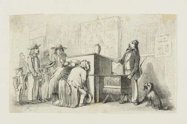 """Carl Stauber: Der Guckkastenmann, 1856 Aus: """"Fliegende Blätter"""", Bd. 25, 1856, Nr. 580, S. 25 Holzstich 9,8 x 16,2 cm Germanisches Nationalmuseum, Nürnberg Kat. Nr. 347"""