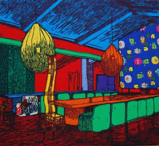 Bunsen Goetz Galerie Fredrik Lindqvist, Feierabend, 2012, Holzschnitt auf Stoff, Aufl. 10, 55 x 50 cm