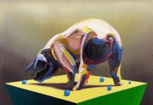 Galerie Lutz mit der blauen Tür Changmin Lee, Schwein, 2014, Öl auf Leinwand, 50 x 60 cm, Foto: Changmin Lee