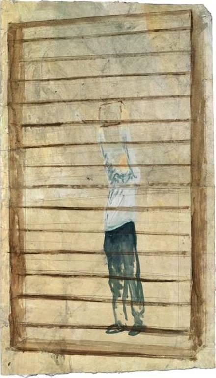 Andrea Barzaghi, Regal (2011), 85 x 49 cm, Acryl auf Papier, © KunstKulturQuartier Nürnberg