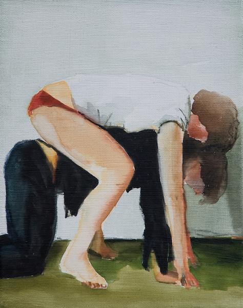 Galerie Sturm Jochen Pankrath, Übereinander, 2013, Aquarell auf Leinwand, 23 x 18 cm; © Galerie Sturm