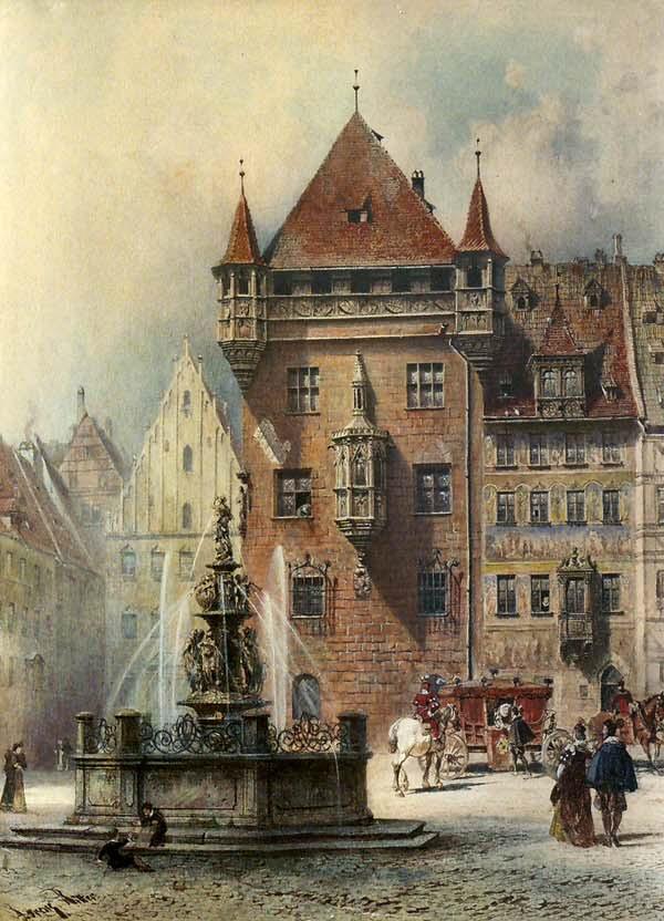 Lorenz Ritter (1832-1921). Lorenzer Platz in Nürnberg Gouache, 36 x 26 cm; Quelle: http://franken-wiki.de/index.php/Datei:Lorenz_Ritter_Platz_in_Nürnberg.jpg