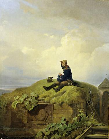 Carl Spitzweg: Es war einmal, (Der strickende Wachtposten), um 1850 © Museum Georg Schäfer, Schweinfurt