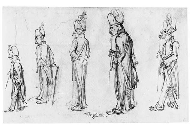 Carl Spitzweg, Fünf Studien nach einem Korporal, um 1850, © Museum Georg Schäfer Schweinfurt
