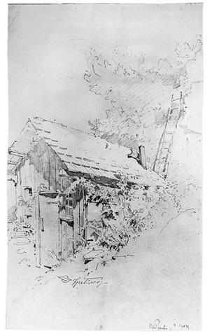 Carl Spitzweg, Häuschen mit Leiter bei Murnau, 1851 © Museum Georg Schäfer Schweinfurt