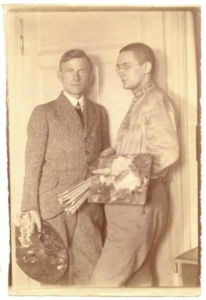 Dore Bartcky: Die Maler und Grafiker Otto Dix und Conrad Felixmüller, 1921 Albuminpapierabzug auf Barytpapier 16,9 cm x 11,4 cm Deutsches Kunstarchiv im Germanischen Nationalmuseum, Nürnberg