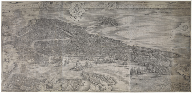 Jacopo de' Barbari: Plan von Venedig, 1500 Holzschnitt 137 x 284 cm Germanisches Nationalmuseum, Nürnberg