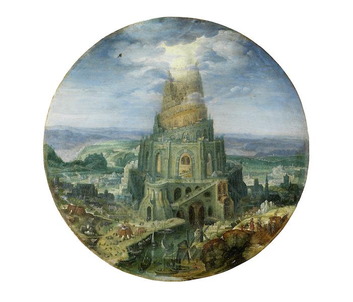 Roelant Savery: Der Turmbau zu Babel, 1602 Öl auf Kupfer Durchmesser: 23,4 cm Germanisches Nationalmuseum, Nürnberg