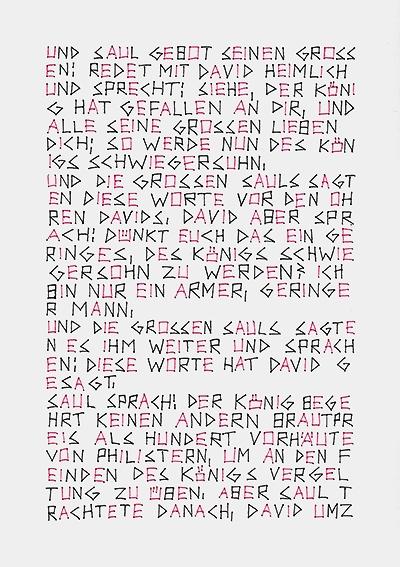 Jochen Flinzer: Die Vorhäute der Philister, 2014 (Vorderseite) Papier, Seidenfaden, 5-teilige Arbeit, Foto: © privat