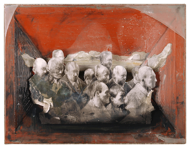 Umzug, 2010, Mischtechnik auf Kappa, 40 x 52 cm © Ludwig Hanisch