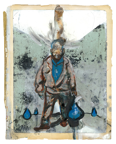 kein Hindernis, 2009, Mischtechnik auf Papier 33 x 26,5 cm © Ludwig Hanisch