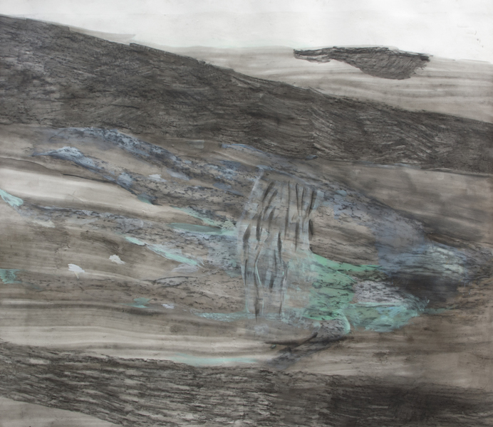 stromabwärts, 2014, Mischtechnik auf Papier, 220 x 255 cm, © Christiane Bergelt