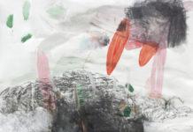 vornüber, 2014, Mischtechnik auf Papier, 220 x190 cm, © Christiane Bergelt