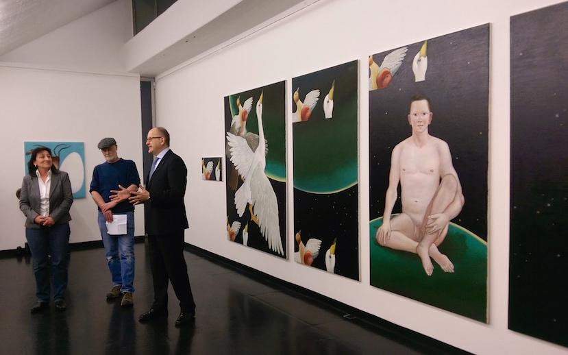 Petra Weigle, Dan Reeder und  S. E. Gunnar Snorri Gunnarsson (v.l.n.r) bei der Eröffnung, Foto: Alexander Racz