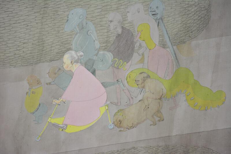 Kirill Schröder, ohne Titel (Detail)2, Grafit und Tusche auf Papier, 80x120cm, 2014