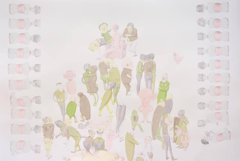 Kirill Schröder, ohne Titel, Grafit und Tusche aufPapier, 80x120cm, 2014