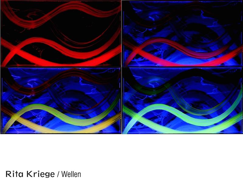 Blaue, rote, gelbe und türkise Wellenbewegung am Computer animiert von Rita Kriege