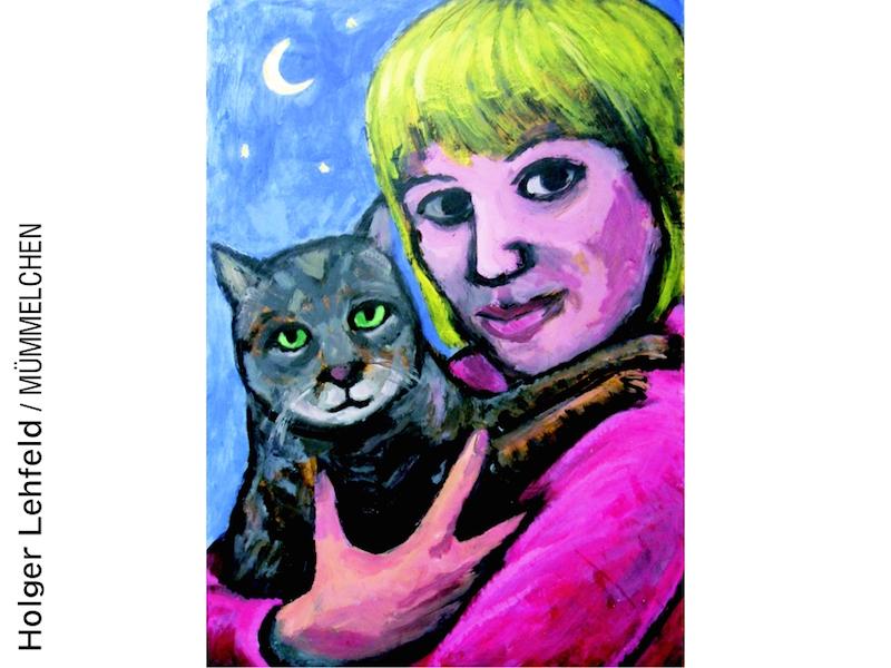 Blonde Frau mit Katze auf dem Arm von Holger Lehfeld