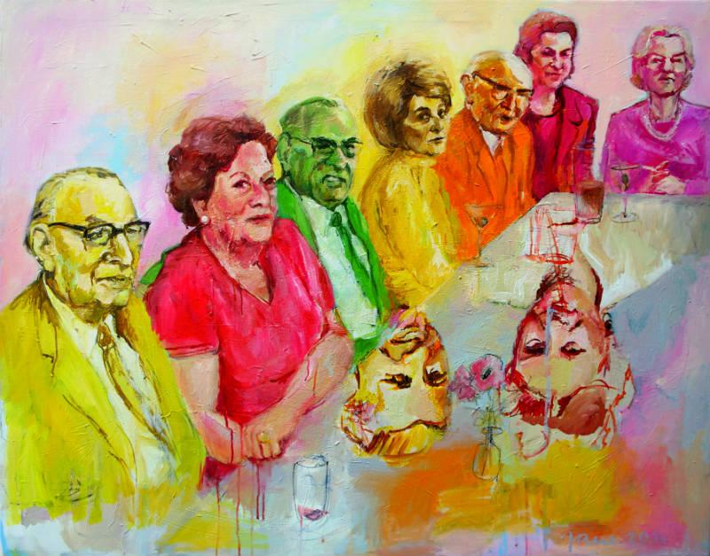 Was hat die Zeit mit uns gemacht, 2014, Acryl auf Leinwand, 110 x 140cm, © Janina Christine Brügel