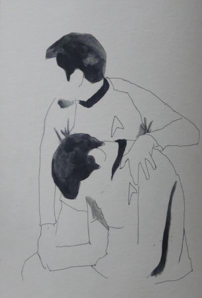 Birke Bonfert: jedermussmalweinen, 2014, 25 x 18,5 cm, Fineliner auf Papier