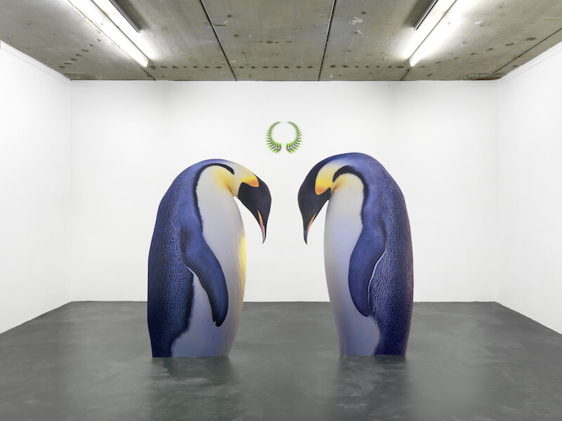 "Katja Novitskova, front: ""Approximation I"", 2012 // back: ""Win Win"", 2012 front: ""Approximation I"", 2012; digital print on aluminium, cutout display 190 x 119 x 20 cm, 195 x 113 x 20cm // back: ""Win Win"", 2012; acrylic cutout 55 x 48cm // installation view of exhibition ""MACRO EXPANSION"" at Kraupa-Tuskany Zeidler, Berlin // Courtesy Kraupa-Tuskany Zeidler, Berlin"
