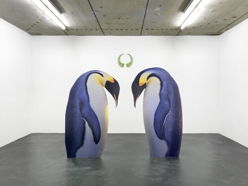 "Katja Novitskova, front: ""Approximation I"", 2012 // back: ""Win Win"", 2012 front: ""Approximation I"", 2012; digital print on aluminium, cutout display 190 x 119 x 20 cm, 195 x 113 x 20cm // back: ""Win Win"", 2012; acrylic cutout 55 x 48cm // installation view of exhibition ""MACRO EXPANSION"" at Kraupa-Tuskany Zeidler, Berlin // Courtesy Kraupa-Tuskany Zeidler, Berlin"