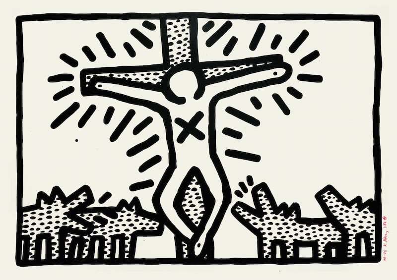 """Keith Haring """"Ohne Titel"""", 1982 from a series of six black/white lithographies, each 61 x 91 cm // © Keith Haring Foundation"""