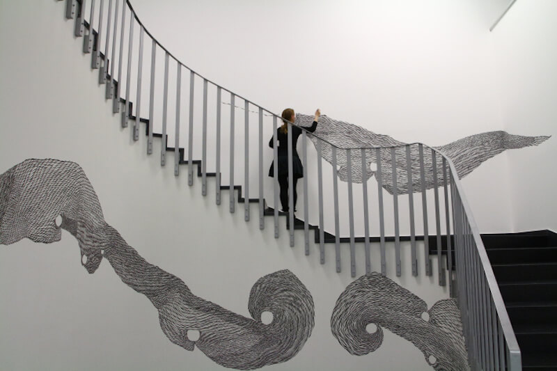 Khrystyna Rymsha-Davidov: Wandzeichnung, im Arbeitsprozess
