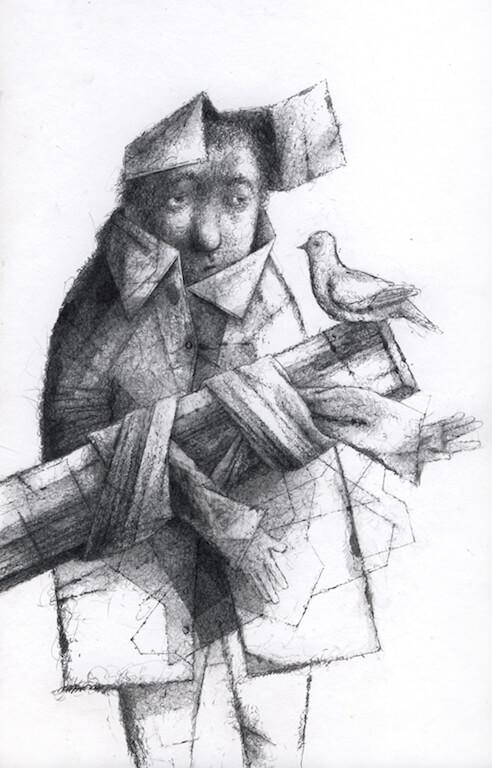 Karol Augustynowicz: Geheimnis, Ausstellung Grafik. Illustration, Städtische Galerie Schwabach