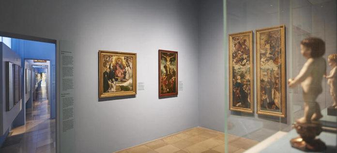 Hans Schäufelein: Christus am Kreuz mit Johannes dem Täufer und König David, 1508, Foto: GNM