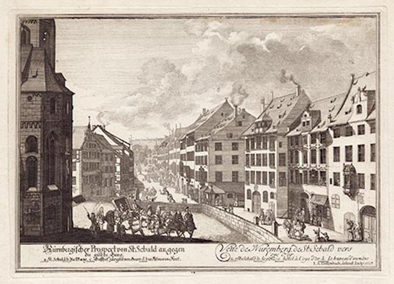 Johann Adam Delsenbach: Nürnbergischer Prospect von St. Sebald an, gegen die güldne Gans, 1716. Bildnachweis: Theo Noll