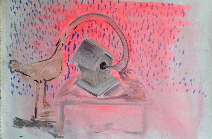 Antonia Beer, n.t. (Bird), Mischtechnik auf Leinwand, 46×70, Prolog im Heute auf dem Quelle Areal in Nürnberg