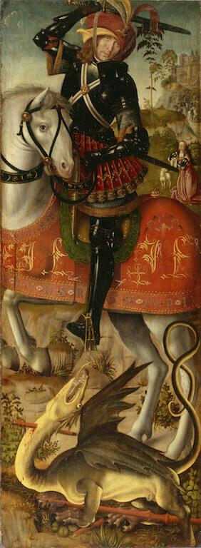 Heiliger Georg im Kampf mit dem Drachen, um 1510 Öl auf Eichenholz 89,1 x 33 cm Germanisches Nationalmuseum, Nürnberg