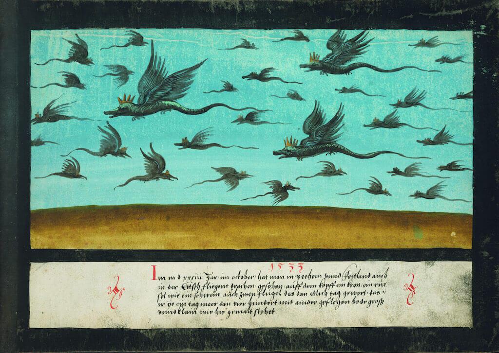 Fliegent drachen, in: Wunderzeichenbuch, um 1552, fol. 127r Aquarell auf Papier 22,4 x 33 cm Hartford, Collection Mickey Cartin