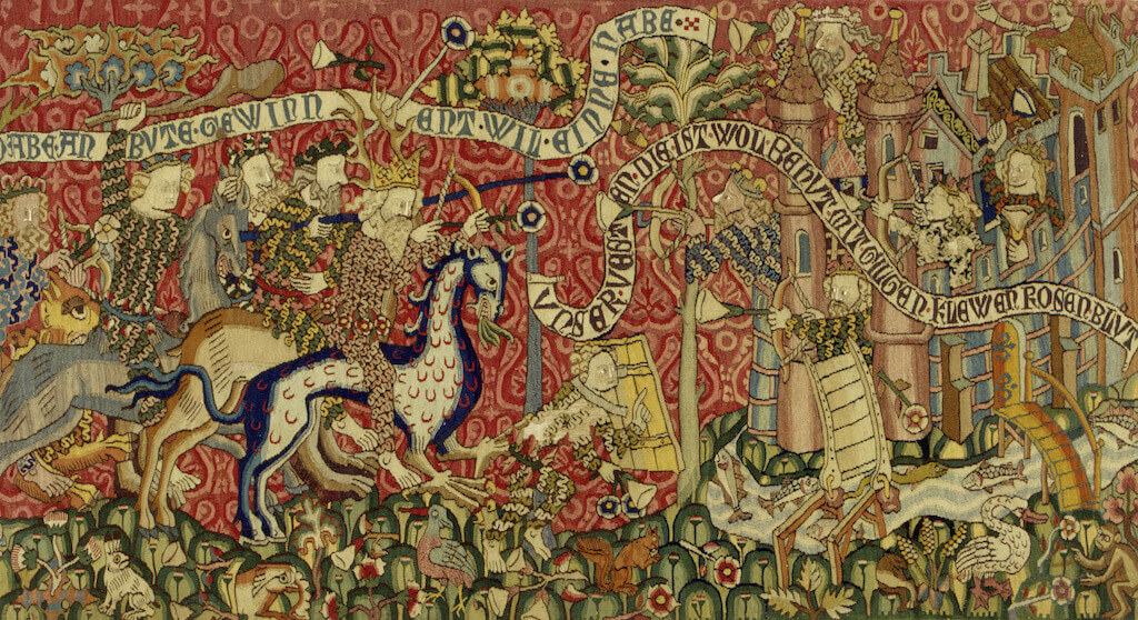 Erstürmung der Minneburg durch Wilde Leute, um 1420 Bildteppich (Leinenkette, Wolle, Seide) 88,5 x 158 cm Germanisches Nationalmuseum, Nürnberg