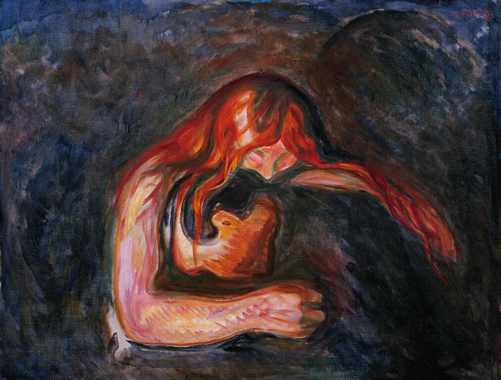 Edvard Munch: Vampir, 1917 Öl auf Leinwand 85 x 110 cm Kunsthalle Würth, Schwäbisch Hall