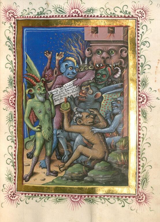 Jacobus de Teramo: Consolatio peccatorum seu processus Belial, 1461 Deckfarben auf Pergament 22,9 x 16,8 cm Bayerische Staatsbibliothek München
