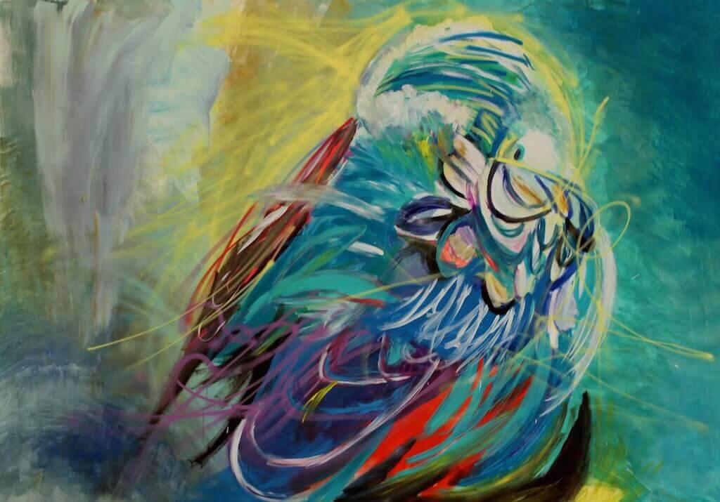 """""""Bird"""" , 2015, Mischtechnik auf MDF, 208 x 281cm, © Patricia Leon Torres"""