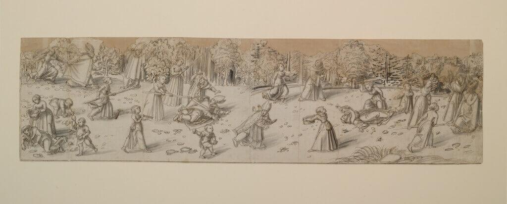 Lucas Cranach d. Ä.: Frauen vertreiben Geistliche, um 1537 Tinte auf Papier 17,7 cm hoch x 65,6 cm breit Germanisches Nationalmuseum, Graphische Sammlung