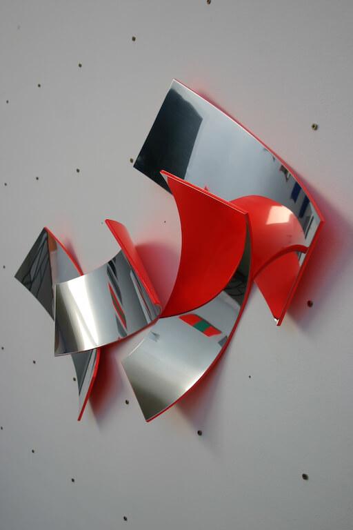 Gert Riel, o.T., 2014, Aluminium poliert, 4tlg., 100 x 70 cm, © Bunsen Goetz Galerie