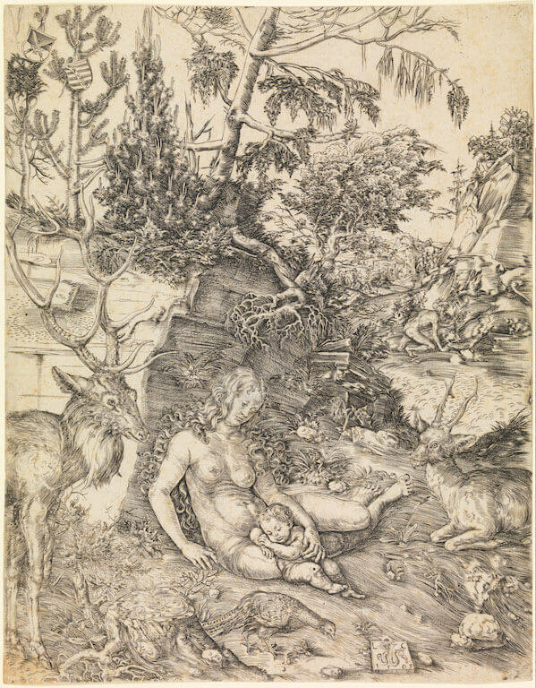 Lucas Cranach d. Ä.: Die Buße des Heiligen Chrysostomus, 1509 Kupferstich Germanisches Nationalmuseum, Graphische Sammlung